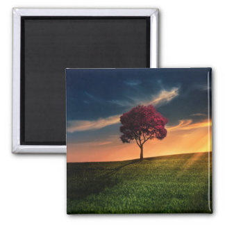 Amazing Landscape with a Red Tree at Sunset 2 Inch Square Magnet