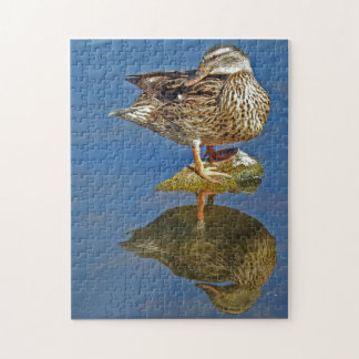 Amazing Mallard Hen Duck Reflection Jigsaw Puzzle