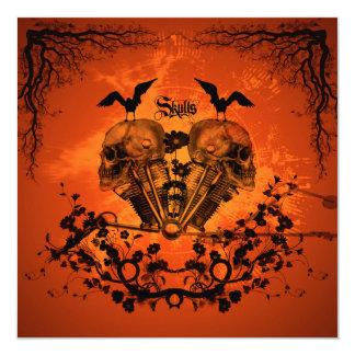 Amazing mechanical skull 13 cm x 13 cm square invitation card