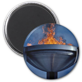 Amazing olympic flame 6 cm round magnet