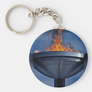 Amazing olympic flame basic round button key ring