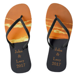 Amazing orange mountain sunset flip flops
