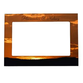 Amazing orange sunset mountain picture frame