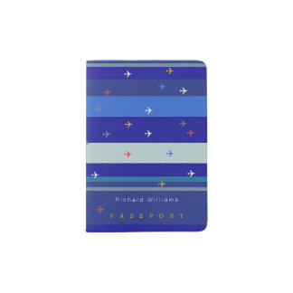 amazing pattern of airplanes & blue stripes on passport holder