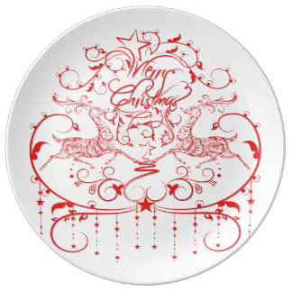 Amazing Red Christmas Design Plate