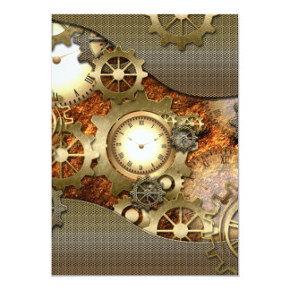 Amazing steampunk design 13 cm x 18 cm invitation card