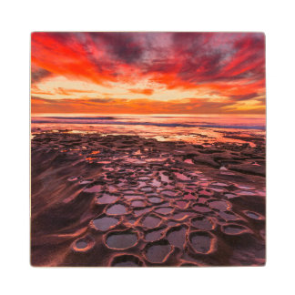 Amazing sunset at the tide pools  2 wood coaster