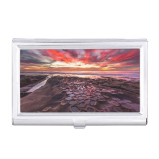 Amazing sunset at the tide pools business card holder