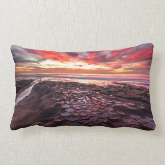 Amazing sunset at the tide pools lumbar cushion
