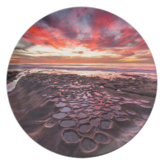 Amazing sunset at the tide pools plate