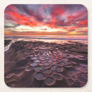Amazing sunset at the tide pools square paper coaster