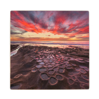 Amazing sunset at the tide pools wood coaster