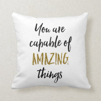 Amazing Things Motivational Quote Cushion