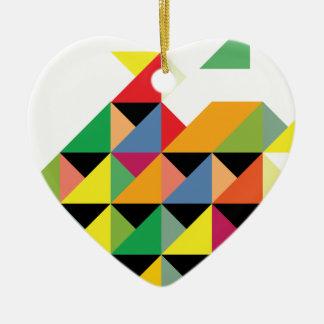 Amazing Triangle Print Hypnotic Ceramic Heart Decoration