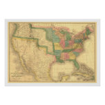 Amazing US America Map 1839 Poster