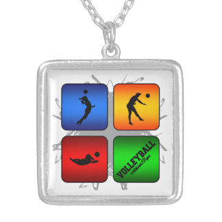 Amazing Volleyball Urban Style Square Pendant Necklace