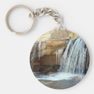 amazing waterfall basic round button key ring