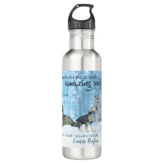 Amazing Wolves Typography | Personalized 710 Ml Water Bottle