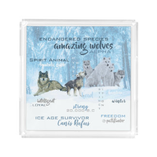 Amazing Wolves Typography | Personalized Acrylic Tray