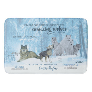 Amazing Wolves Typography | Personalized Bath Mat
