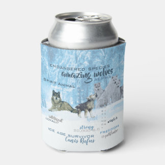 Amazing Wolves Typography | Personalized Can Cooler