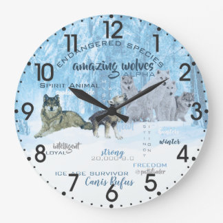 Amazing Wolves Typography | Personalized Large Clock