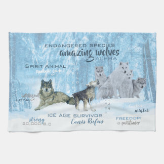 Amazing Wolves Typography | Personalized Tea Towel