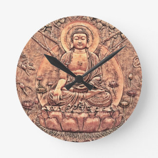 Amazingly Detailed Copper Buddha Round Clock
