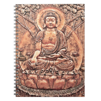 Amazingly Detailed Copper Buddha Spiral Notebooks