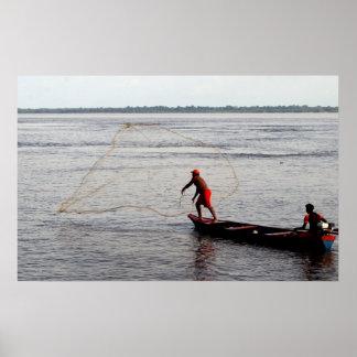 Amazon Fisherman Throwing Net Posters