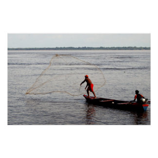 Amazon Fisherman Throwing Net Poster