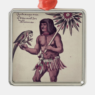 Amazon Indian, engraved by Theodore de Bry Silver-Colored Square Decoration