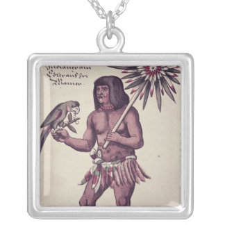 Amazon Indian, engraved by Theodore de Bry Silver Plated Necklace