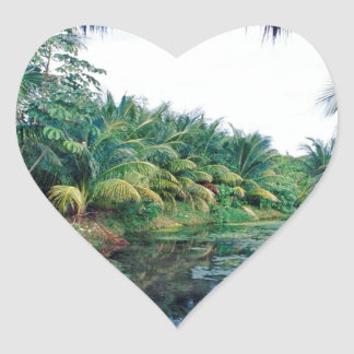 Amazon Jungle River Landscape Heart Sticker