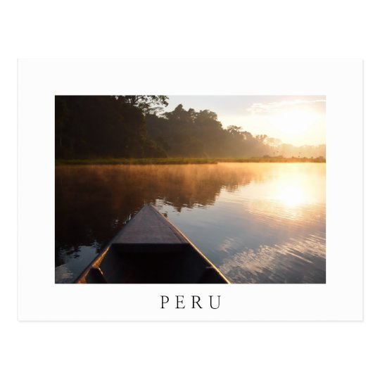 Amazon sunrise, Peru white text postcard