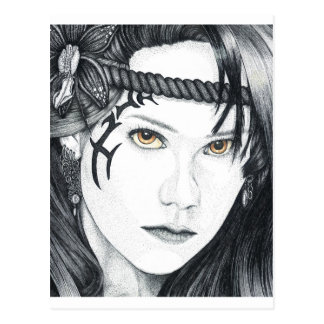 Amazon Warrior (face) - Blank Postcard