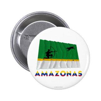 Amazonas Waving Flag with Name 6 Cm Round Badge