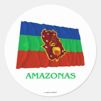 Amazonas Waving Flag with Name Round Sticker