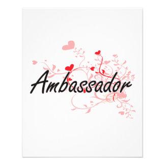 Ambassador Artistic Job Design with Hearts 11.5 Cm X 14 Cm Flyer