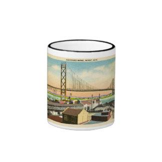 Ambassador Bridge Detroit, Michigan Vintage Ringer Mug