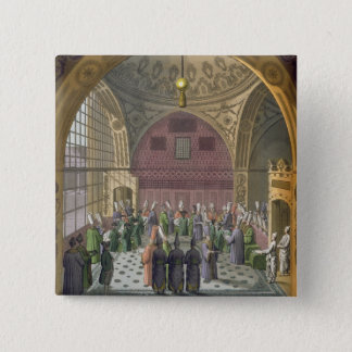 Ambassadors in the Audience Hall of the Grand Vizi 15 Cm Square Badge