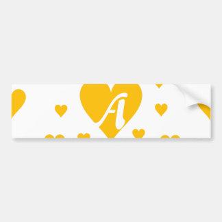 Amber and White Hearts Monogram Bumper Sticker