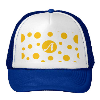 Amber and White Polka Dots Monogram Cap