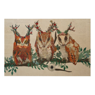 AMBER ANTLER FLORAL OWLS ON BRANCH Wooden Canvas Wood Wall Art