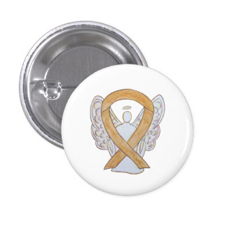 Amber Awareness Ribbon Appendix Cancer Angel Pin