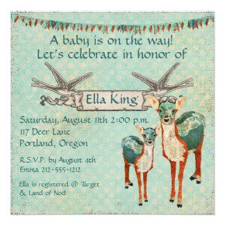Amber Azure Deer Baby Invitation