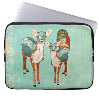 Amber & Azure Deer & Rose Owl Computer Sleeve
