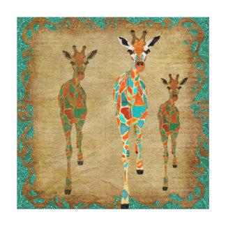 Amber  & Azure Giraffes Art Canvas