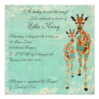 "Amber Azure Giraffes Baby Invitation 5.25"" Square Invitation Card"