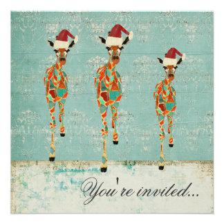 Amber Azure Giraffes Christmas Party Invitation
